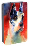 Harlequin Great Dane Watercolor Painting Portable Battery Charger