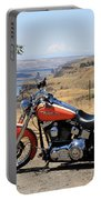 Harley With Columbia River And Mt Hood Portable Battery Charger
