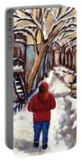 Winter Walk After The Snowfall Best Montreal Street Scenes Paintings Canadian Artist Paysage Quebec Portable Battery Charger