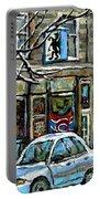 Achetez Les Meilleurs Scenes De Rue Montreal St Henri Cafe Original Montreal Street Scene Paintings Portable Battery Charger