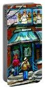 Achetez Les Meilleurs Scenes De Rue Montreal Boulangerie St Viateur Original Montreal Street Scenes  Portable Battery Charger