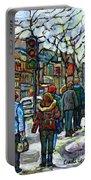 Buy Best Original Canadian Winter Scene Art Downtown Montreal Paintings Achetez Scene De Rue Quebec  Portable Battery Charger