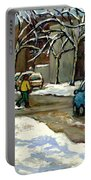 Canadian Artist Winter Scenes Original Paintings Quebec Streets Achetez  Montreal Art Online Portable Battery Charger