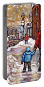Original Montreal Street Scene Paintings For Sale Winter Walk After The Snowfall Best Canadian Art Portable Battery Charger