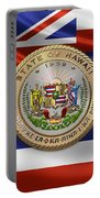 Hawaii Great Seal Over State Flag Portable Battery Charger