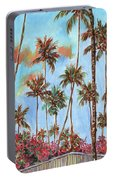 Hawaiian Cottage With Pink And Red Tropical Flowers Portable Battery Charger