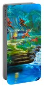 Hawaiian Hut And Waterfalls Portable Battery Charger