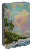 Hawaiian  Twilight Beach Wave Art Print Painting #423 Portable Battery Charger