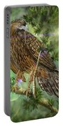 Hawk In The Evergreens Portable Battery Charger by Darren Cannell