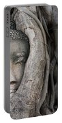 Head Of Buddha Statue In The Tree Roots Portable Battery Charger