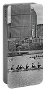 Head Of The Charles. Charles Rowers Black And White Portable Battery Charger