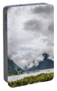 Heads In The Clouds Panorama At Milford Sound Portable Battery Charger