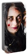 Heavy Metal Zombie Woman Wearing Headphones Portable Battery Charger