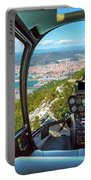 Helicopter On Gibraltar Rock Portable Battery Charger