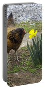 Hen And Daffodils Portable Battery Charger