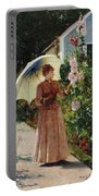 Henri Emile De Sachy France 19th Century Elegant Young Lady In The Garden Walk At Hollyhocks Portable Battery Charger