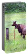Herd Of Elk Leaping - Western Oregon Portable Battery Charger