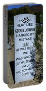 Here Lies George Johnson - Old Tucson Arizona Portable Battery Charger