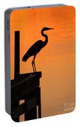 Heron At Sunset Portable Battery Charger