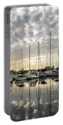 Herringbone Sky Patterns With Yachts And Boats  Portable Battery Charger