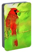 Hiding Behind The Leaves - Male Cardinal Art Portable Battery Charger