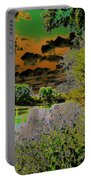 High Contrast River Sunset Portable Battery Charger