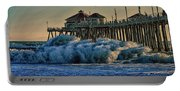 High Hurricane Surf At Huntington Beach Portable Battery Charger