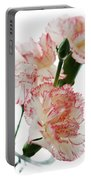 High Key Pink And White Carnation Floral  Portable Battery Charger