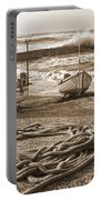 High Tide In Sennen Cove Sepia Portable Battery Charger