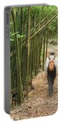 Hiker In Bamboo Forest Portable Battery Charger