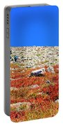 Hikers And Autumn Tundra On Mount Yale Colorado Portable Battery Charger