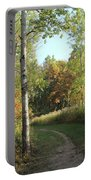 Hiking Trail In Autumn Sunset Portable Battery Charger