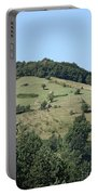 Hill With Haystack And Trees Landscape Portable Battery Charger