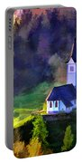 Hilltop Church In Misty Mountain Forest Portable Battery Charger