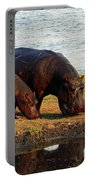 Hippo Mother And Child - Botswana Africa Portable Battery Charger