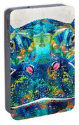 Hippopotamus Art - Happy Hippo - By Sharon Cummings Portable Battery Charger