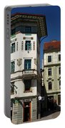 Historic Art Nouveau Buildings At Preseren Square White Tiled Ha Portable Battery Charger