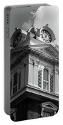 Historic Courthouse Steeple In Bw Portable Battery Charger by Doug Camara