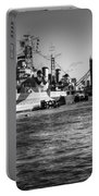 Hms Belfast And Tower Bridge 2 In Black And White Portable Battery Charger