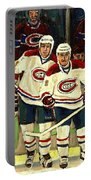 Hockey Art The Habs Fab Four Portable Battery Charger by Carole Spandau
