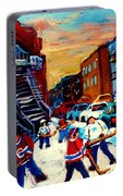 Hockey Paintings Of Montreal St Urbain Street City Scenes Portable Battery Charger