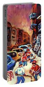 Hockey Paintings Of Montreal St Urbain Street Winterscene Portable Battery Charger