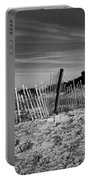 Holding Back The Dunes In Black And White Portable Battery Charger