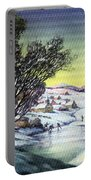 Holiday Winter Snow Scene Children Skating On Frozen Pond Portable Battery Charger