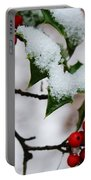 Holly Tree And Snow Portable Battery Charger
