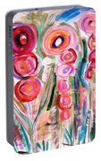 Hollyhocks Of The Garden Portable Battery Charger