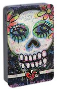 Home Is Wherever I Am With You An Abstract Skull Painting About Love Portable Battery Charger