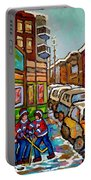Home Town Painting St Viateur Bagel Street Scene Coca Cola Truck Montreal 375 Carole Spandau Art     Portable Battery Charger