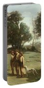 Homer And The Shepherds In A Landscape Portable Battery Charger by Jean Baptiste Camille Corot