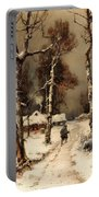 Homeward Through The Winter Forest Portable Battery Charger